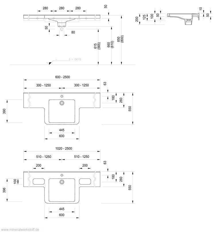 Varicor® Waschtischmodell Dejuna Pro ~ Waschbecken Norm